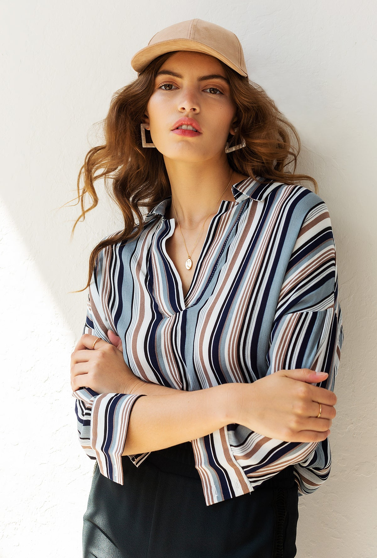Stripes V-Neck Top
