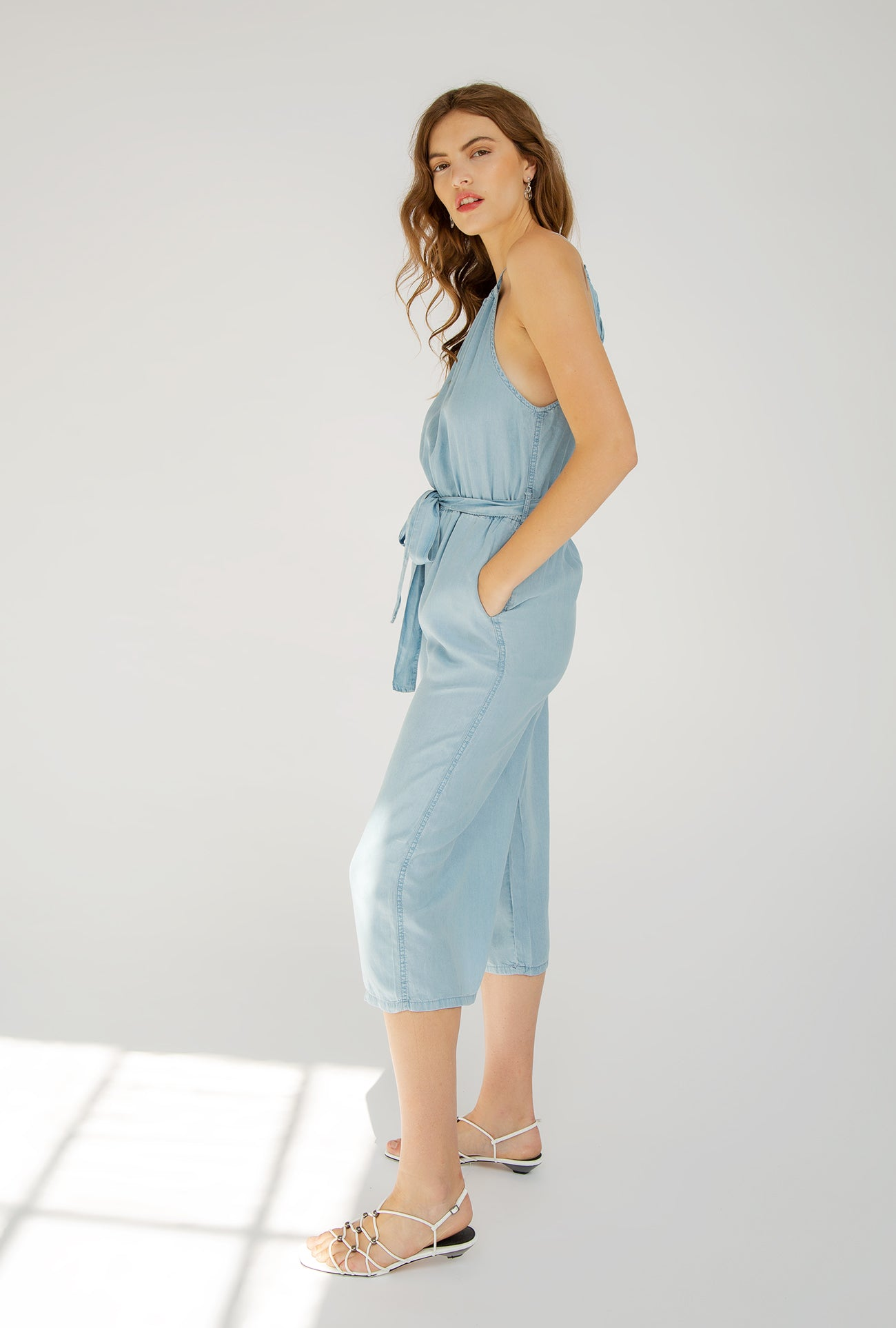 Light Denim Halter Jumpsuit