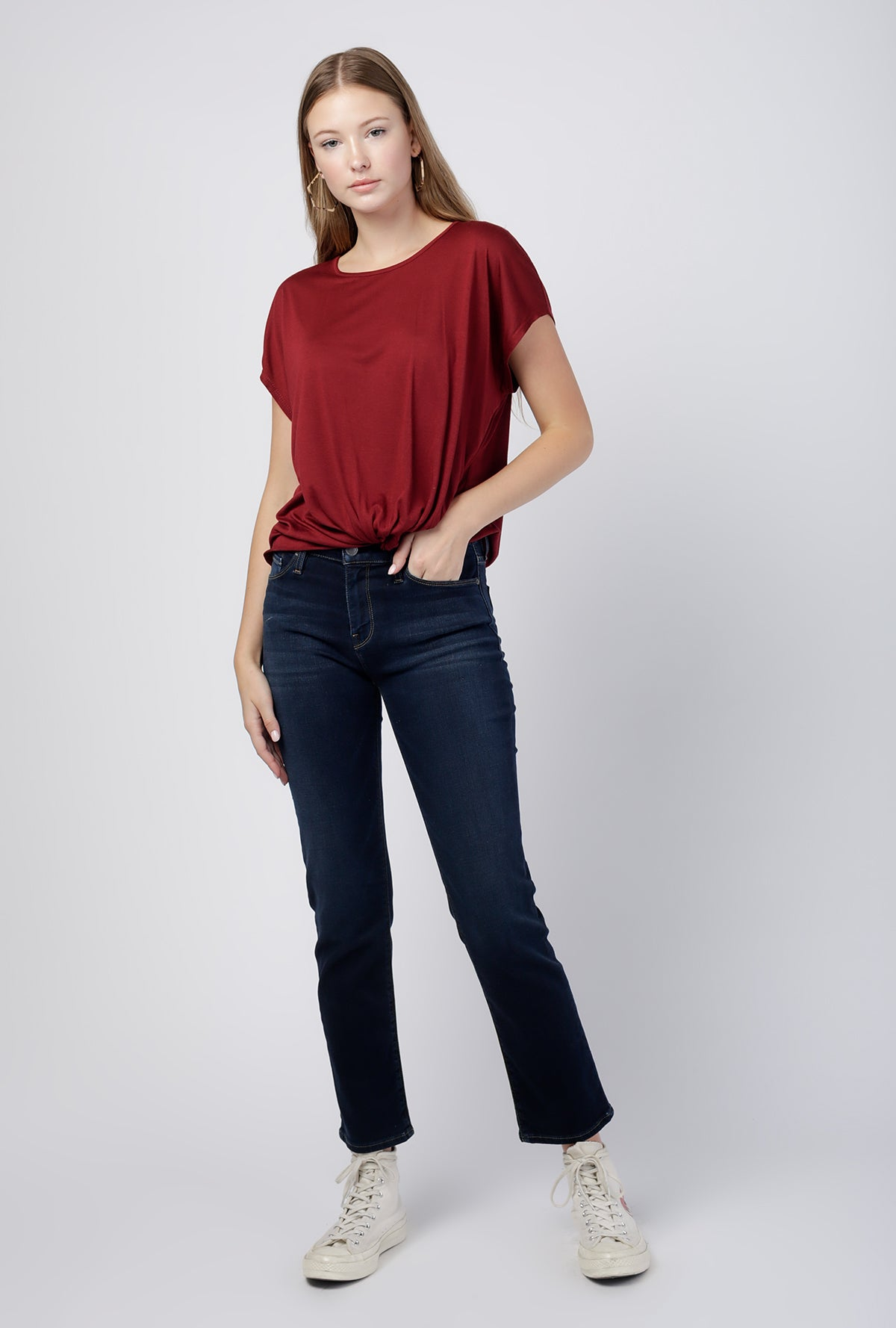 Perfect Knit Tied Hem Tee