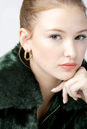 Contour Hoop Earrings P - BRASS