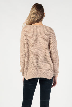 Fuzzy V Neck Pullover Sweater