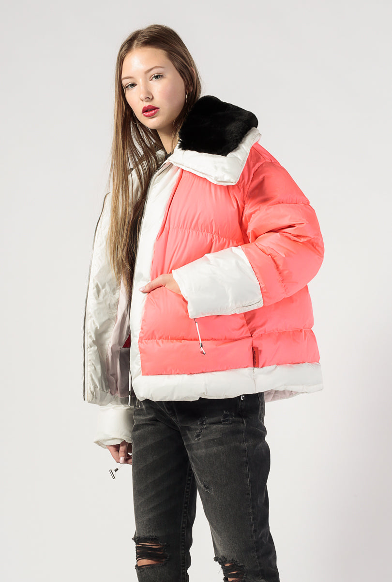 Short Puffer Faux Fur Supersized Jacket