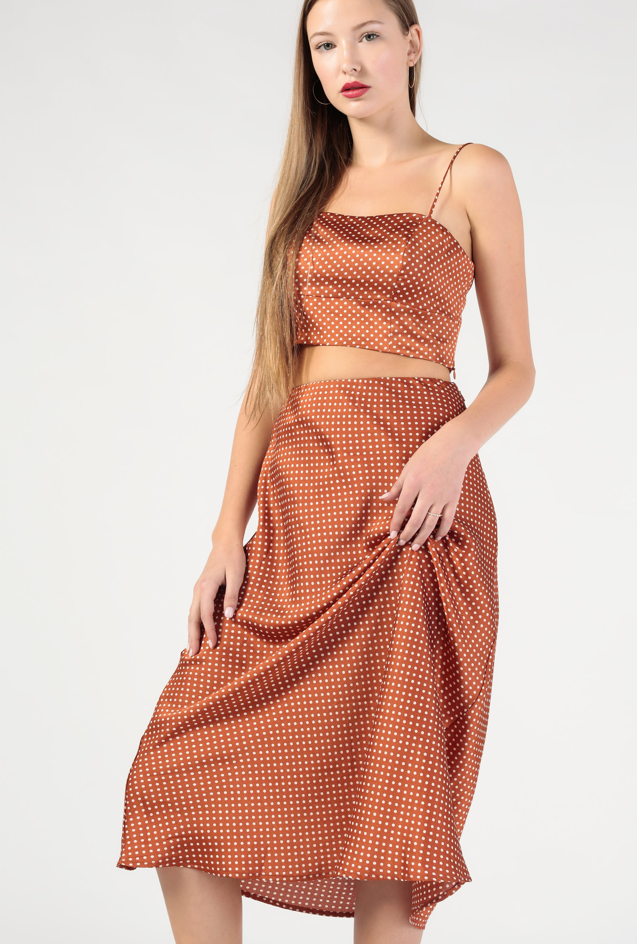 Polka Dot Satin Midi Skirt