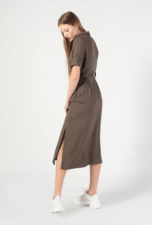Button Down SS Midi Waist Tie Dress