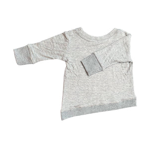 Asymmetric Pullover - Grey Skinny Stripes