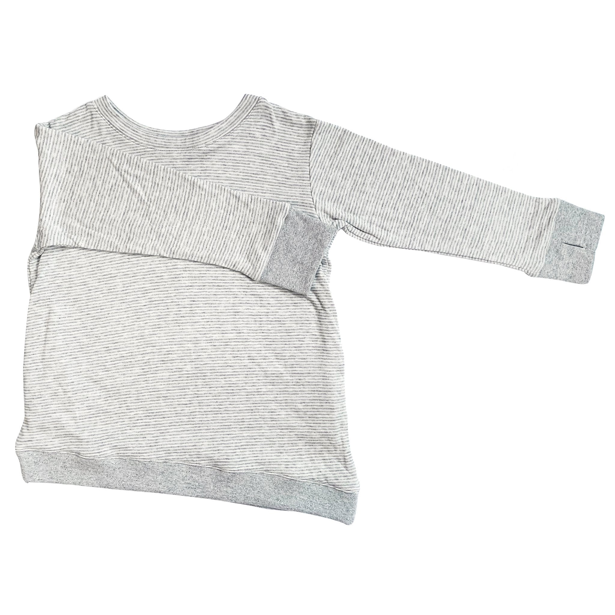 Asymmetric Pullover - Grey Skinny Stripes - Youth