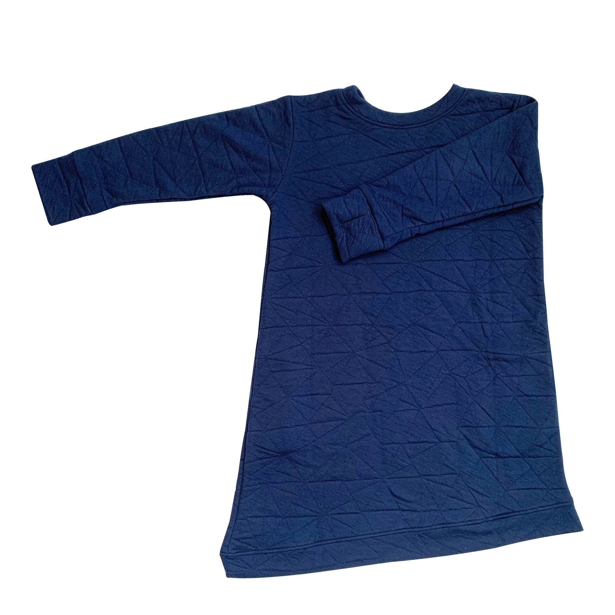 Asymmetric Dress - Quilted Deep Blue - Youth
