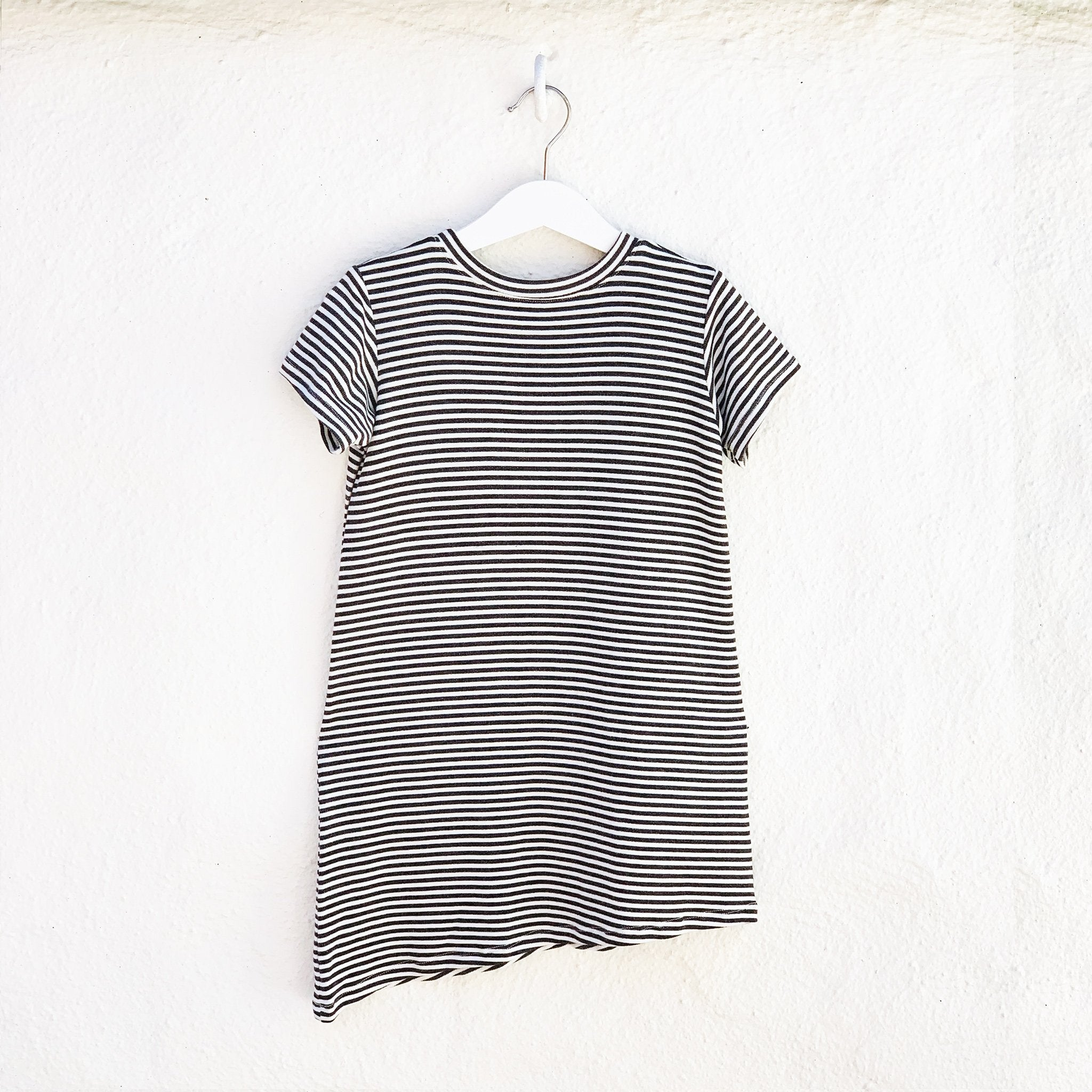 Asymmetric T-shirt Dress - Black + White Stripes
