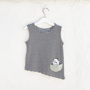 Asymmetric Tank - Black + White Stripes