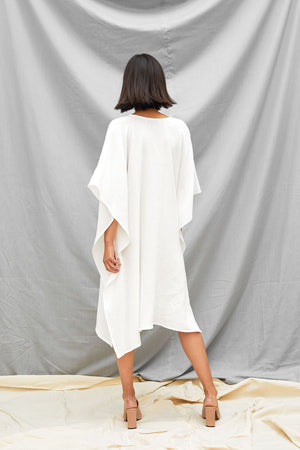 Oversized Dart Dress - White