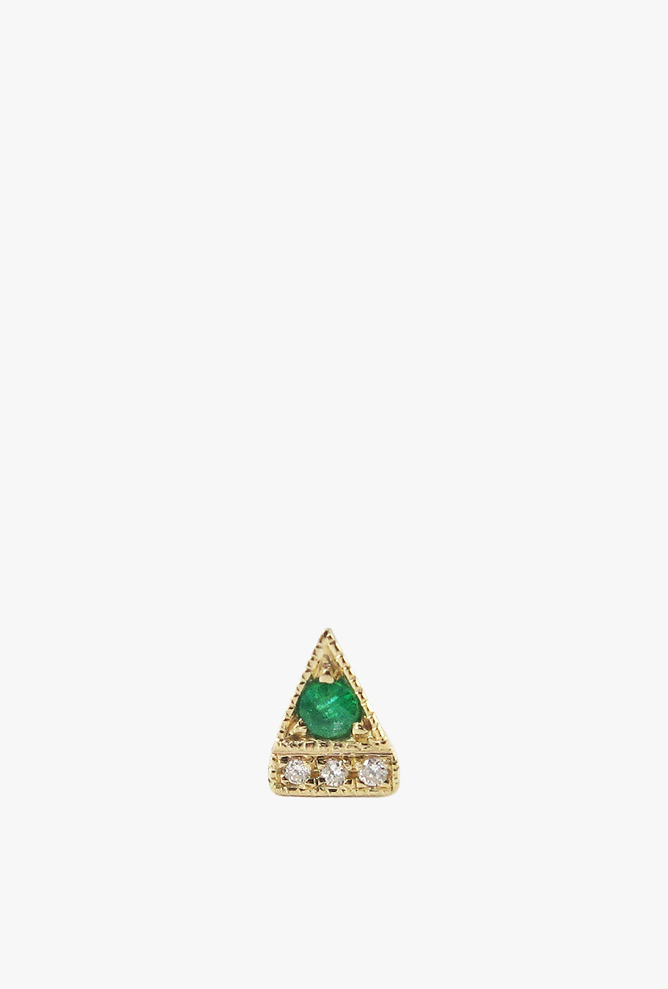Emerald Deco Point Triangle Stud Earring