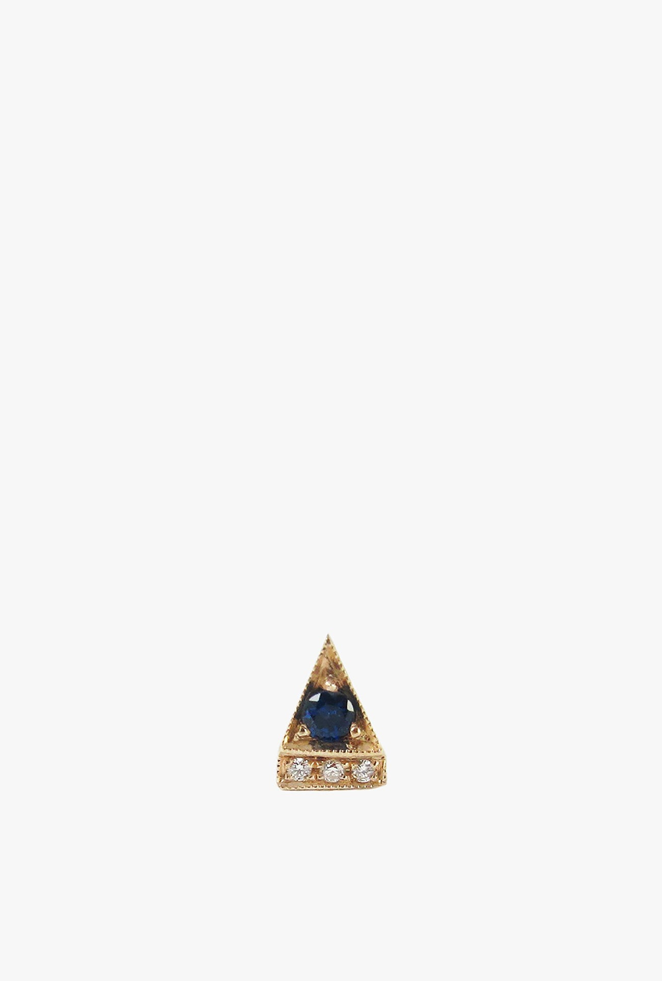 Sapphire Deco Point Triangle Stud Earring