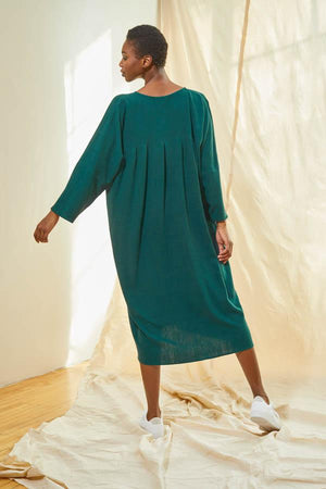 Pleated V-Neck Dress - Pine