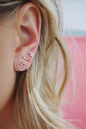 Diamond Open Heart Stud Earrings