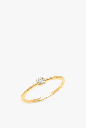 Diamond Princess Cut Pinky Ring