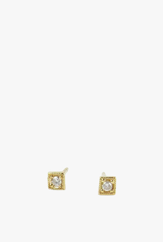 Diamond Mini Square Stud Earrings