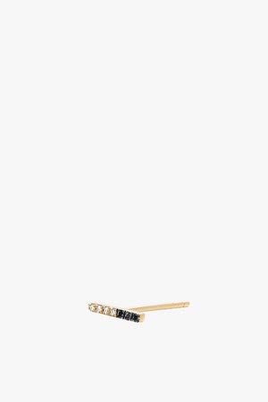 2 Tone Diamond Bar Stud Earring - Single