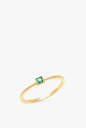 Emerald Princess Cut Pinky Ring