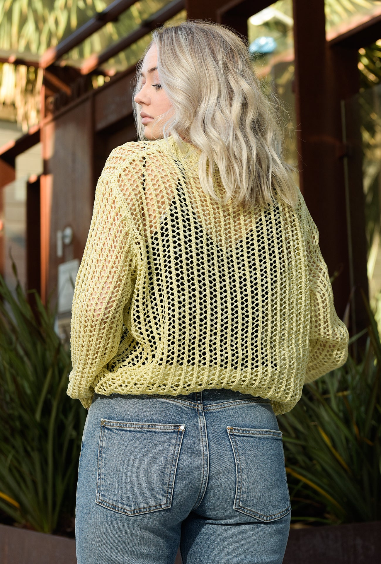 Fish Net Crew Neck Pullover Sweater