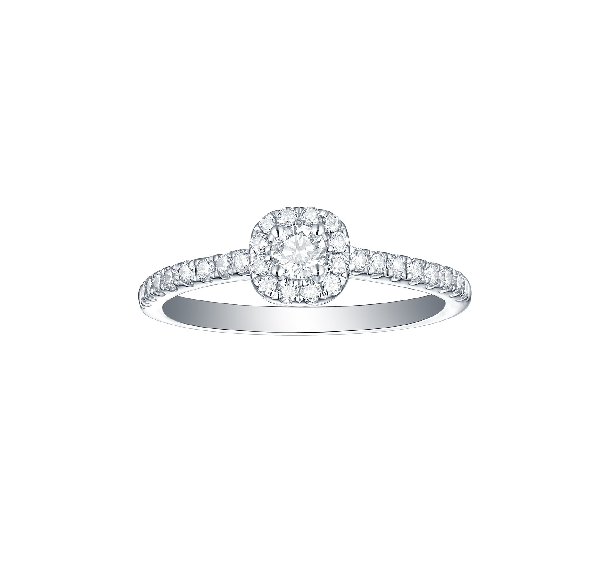 Essentials 0.44ct Cushion Halo Ring