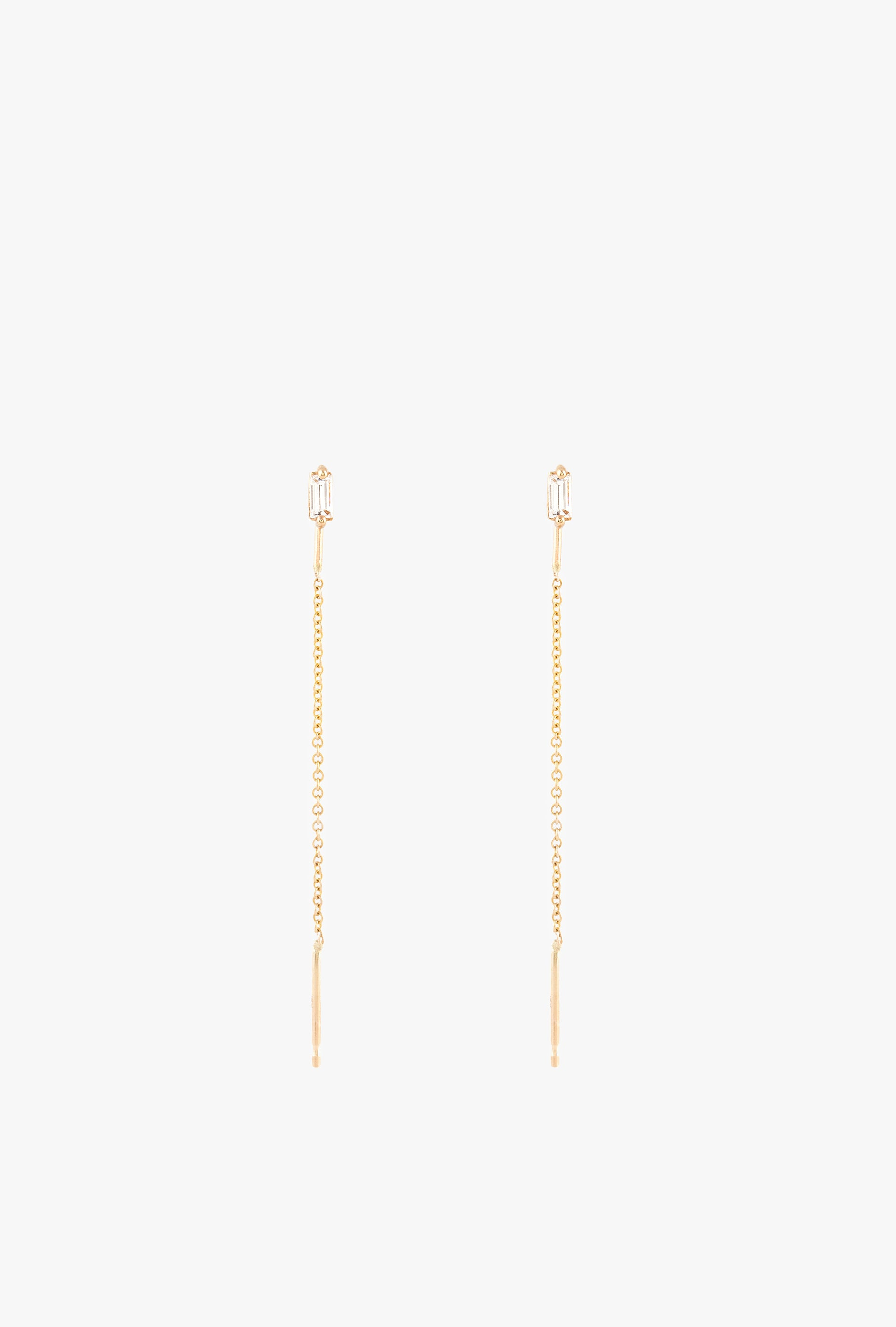 Baguette Diamond Threader Earrings P