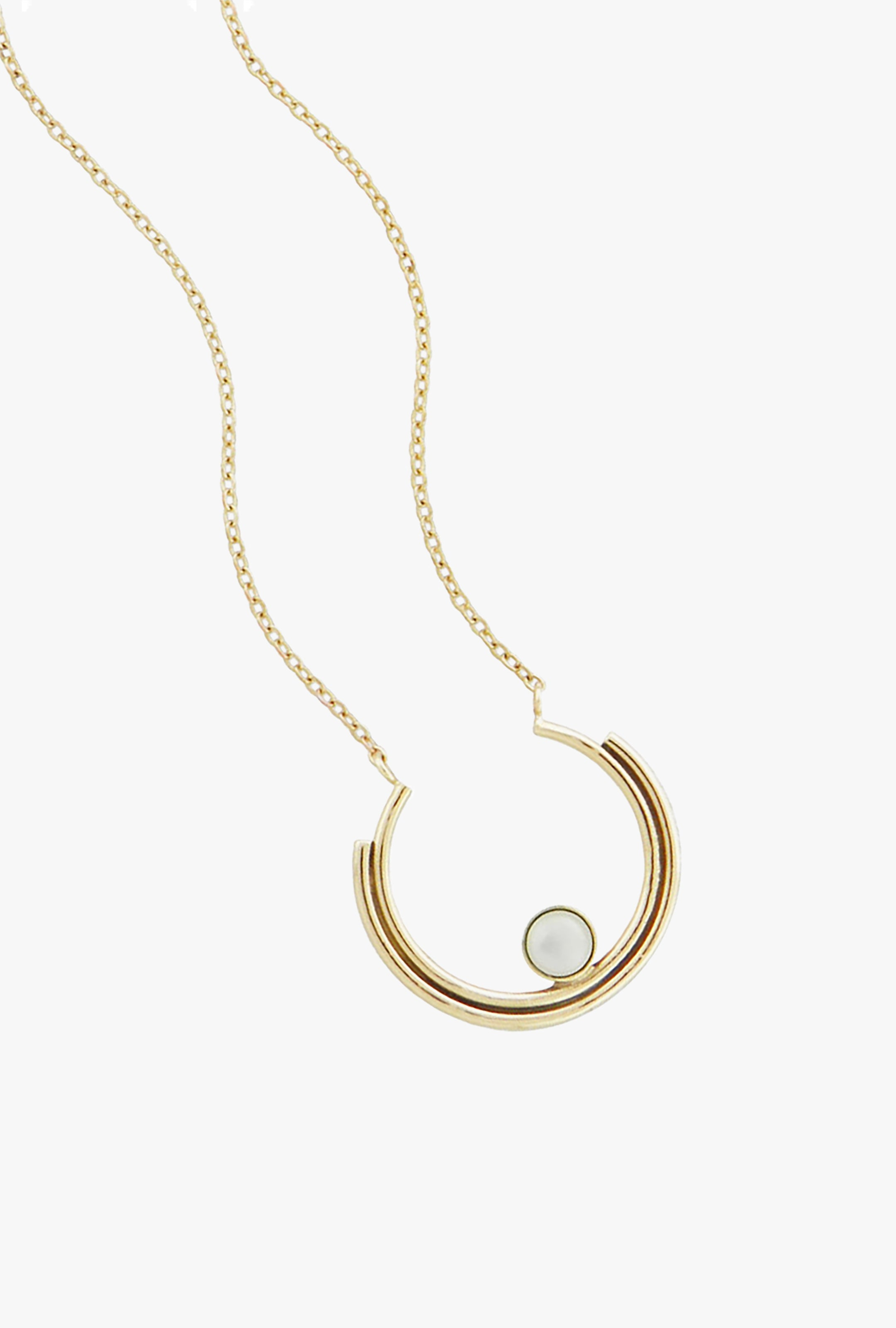 Mother of Pearl Stacked Arc Necklace