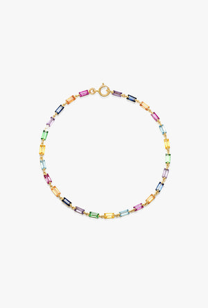 Multi Colored Baguette Link Bracelet