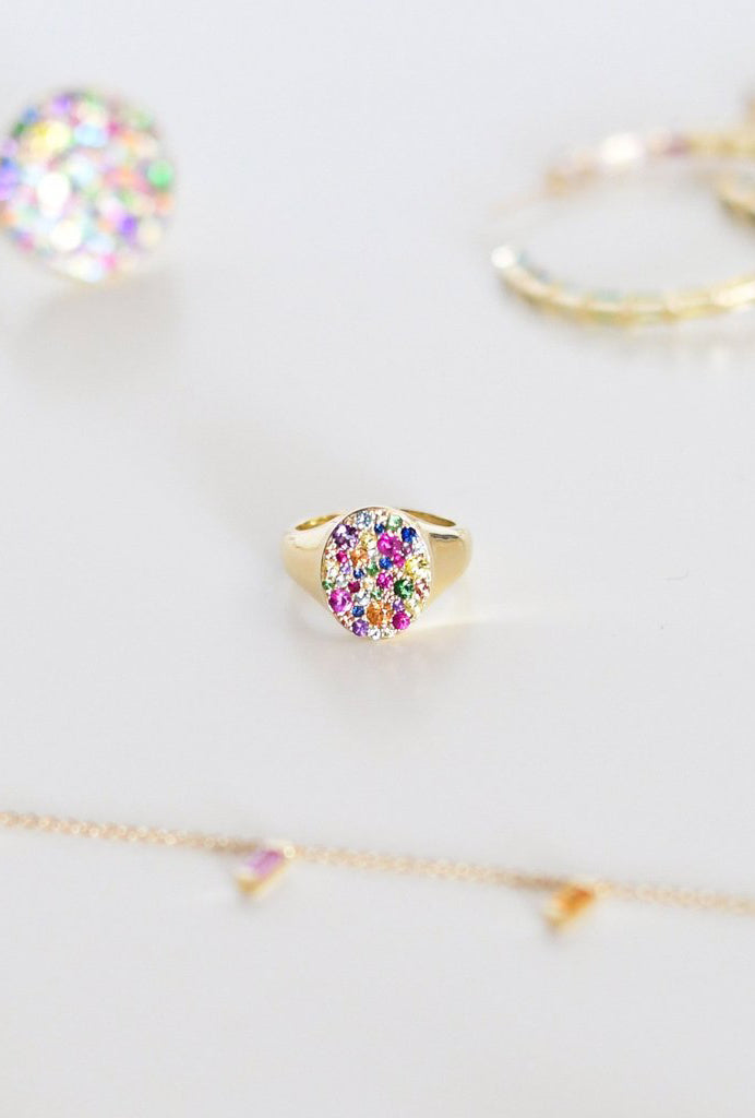 Multi Colored Pinky Signet Ring