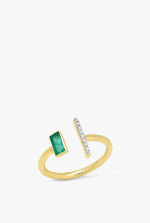Open Emerald and Diamond Bar Ring
