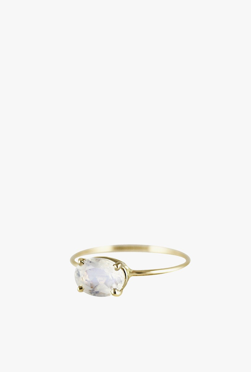 Oval Faceted Moonstone Ring