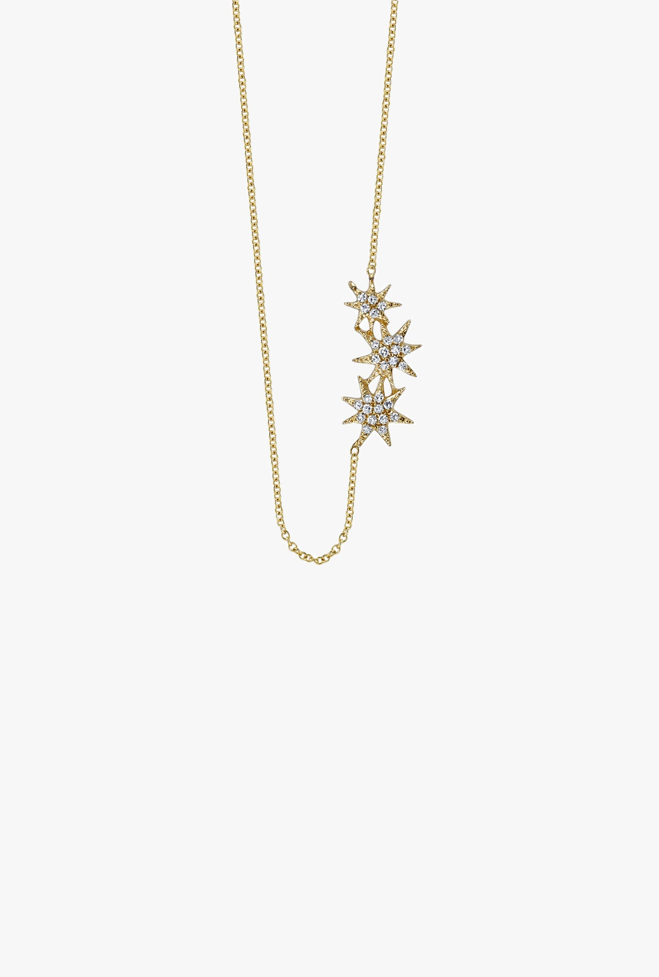 Pave Tri Shooting Star Necklace