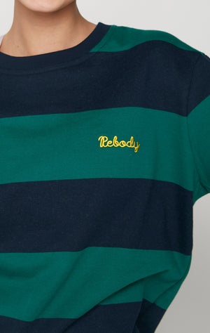 Embroidered Rebody Logo Rugby Striped Sweatshirt *Limited Edition*