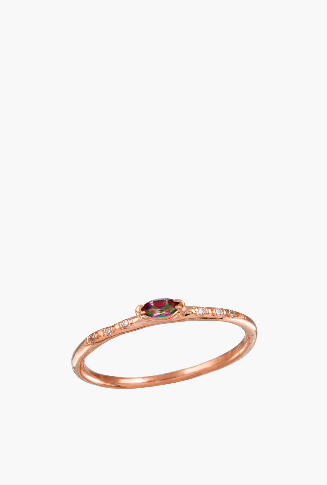 Marquise Rainbow Topaz w/ Pave Diamond Ring