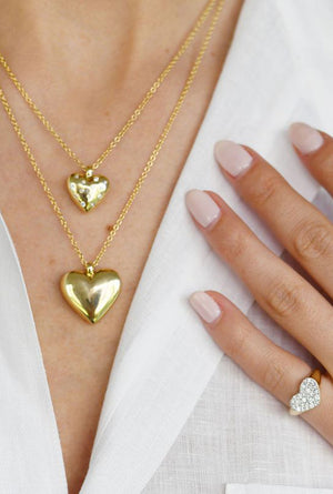 Reversible Diamond and Gold Heart Necklace