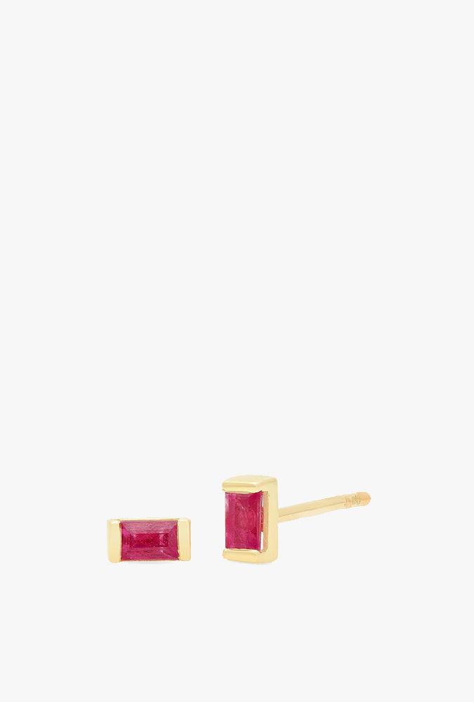 Ruby Baguette Studs