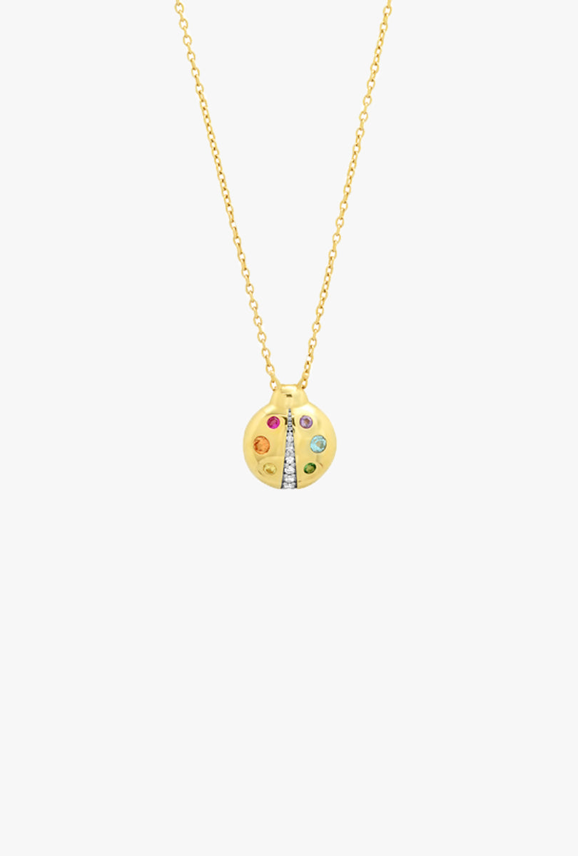 Multi Colored Baby Ladybug Necklace