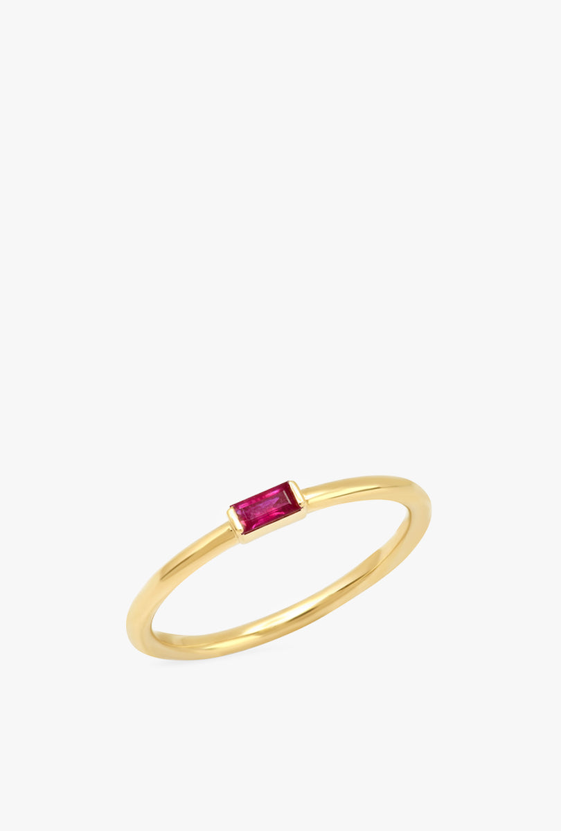 Ruby Baguette Solitare Ring