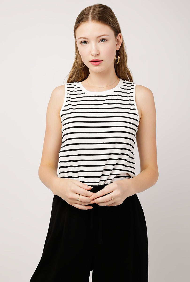 Soft Stripe Muscle Tank Top