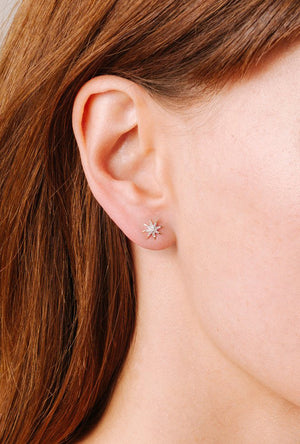 Solid Pave Starburst Earrings