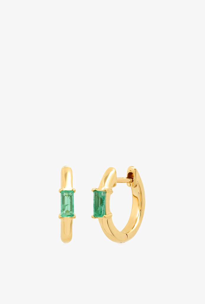 Stationary Emerald Baguette Huggie
