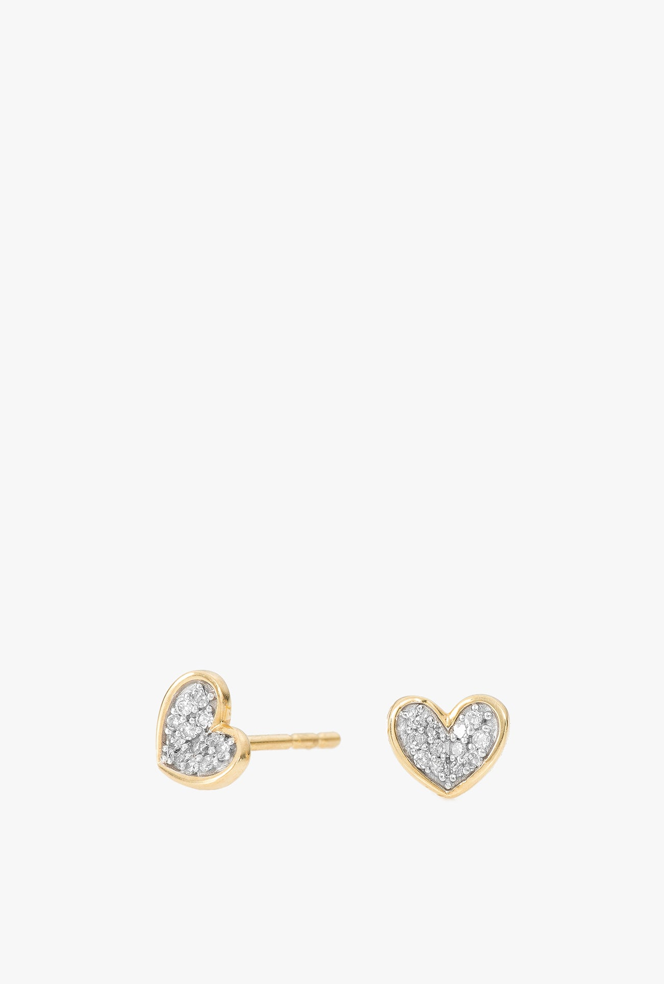 Super Tiny Pave Folded Heart Earrings
