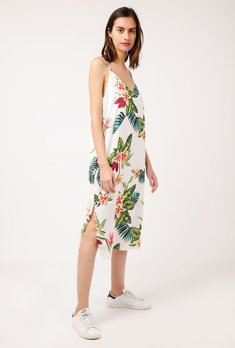 Tropical Strappy Midi Dress