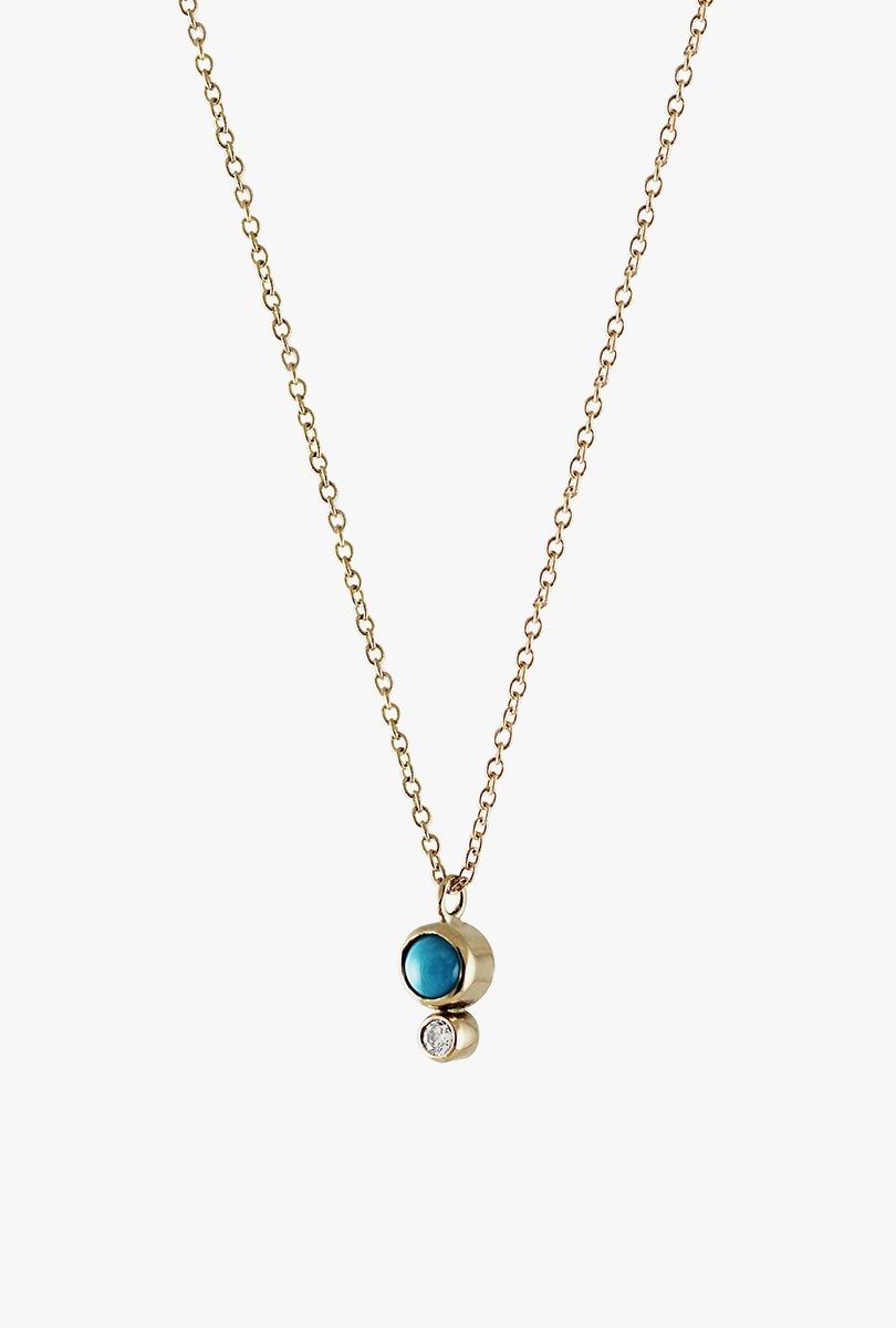 Turquoise Bezel w/ Diamond Necklace