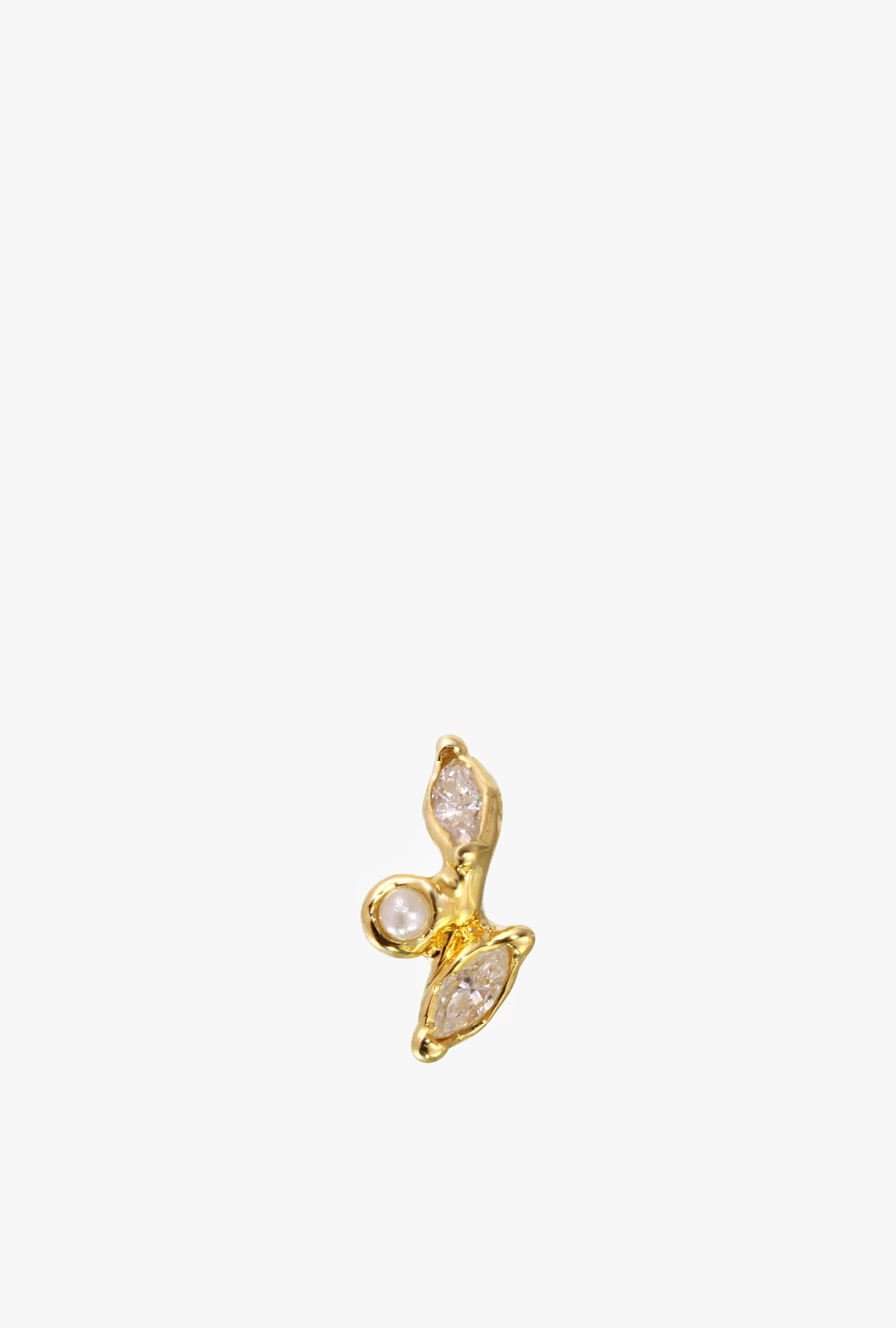 Diamond Leaf & Pearl Stud