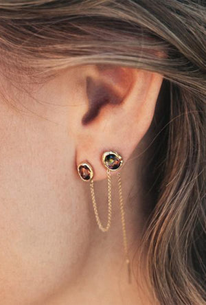 Alfa Threader Earring Long with Precious Stone