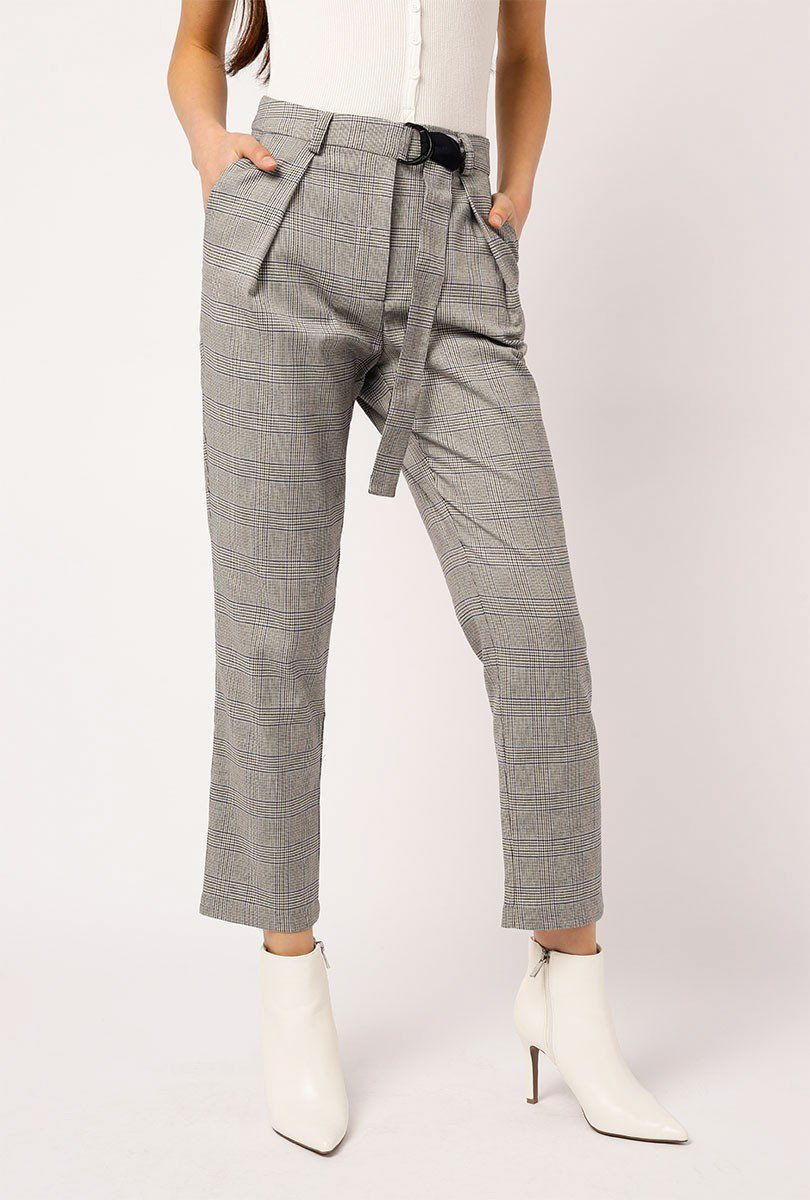 Belted Plaid Pants