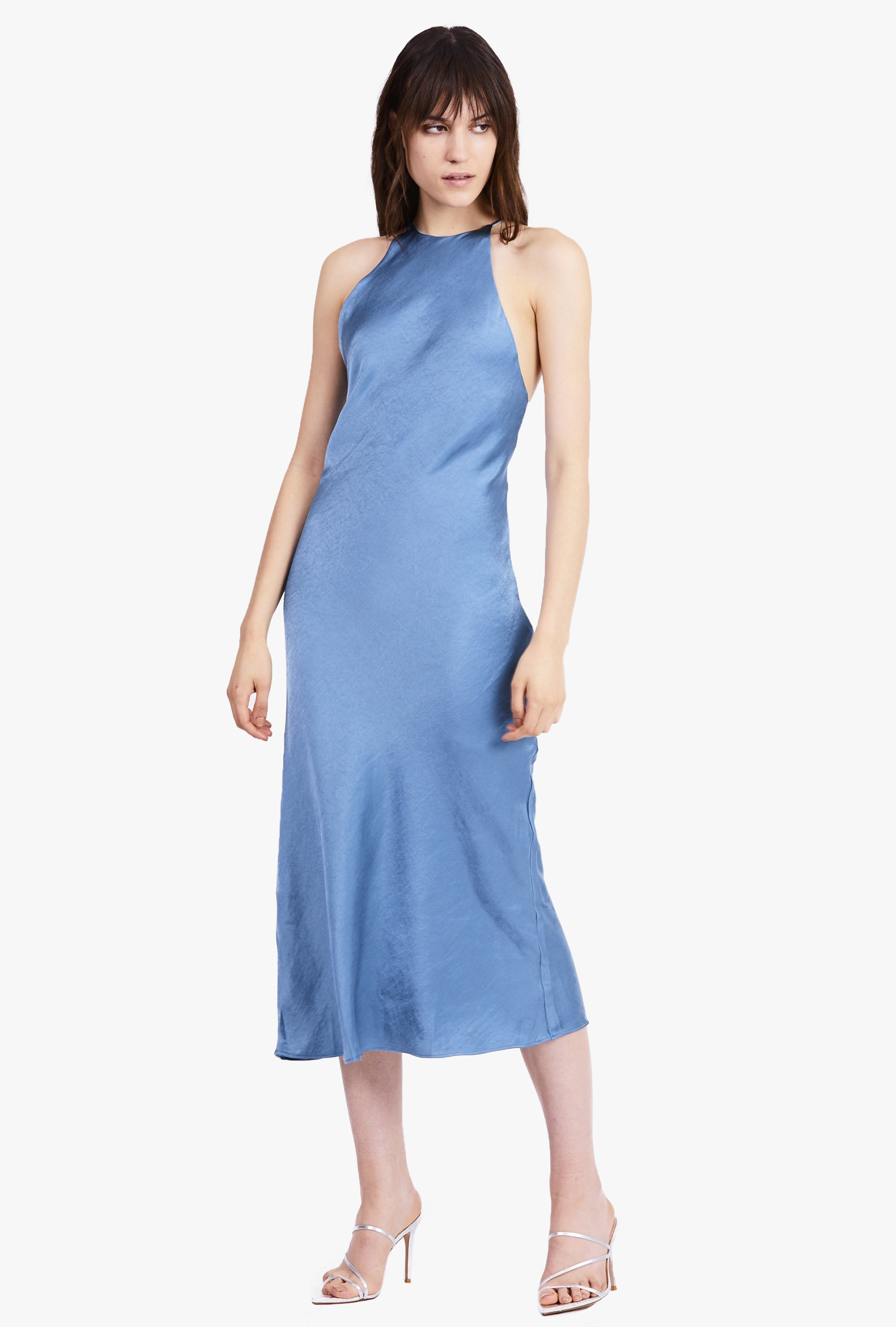 Bias High Neck Dress