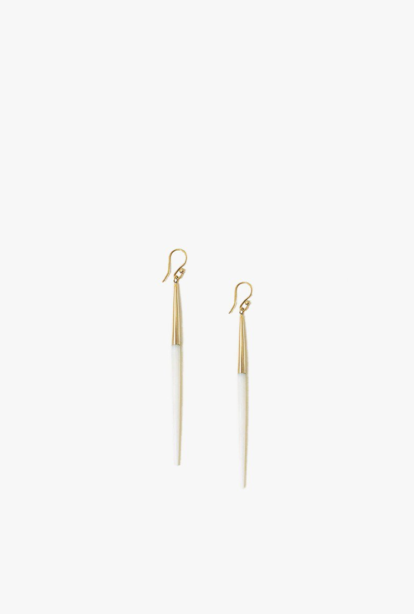 Capped White Quill Earrings P