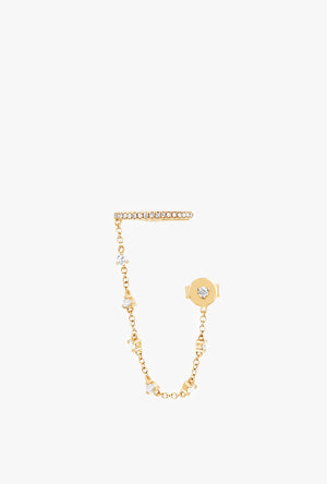 Diamond Cleo Earring With Prong Set Chain And Stud
