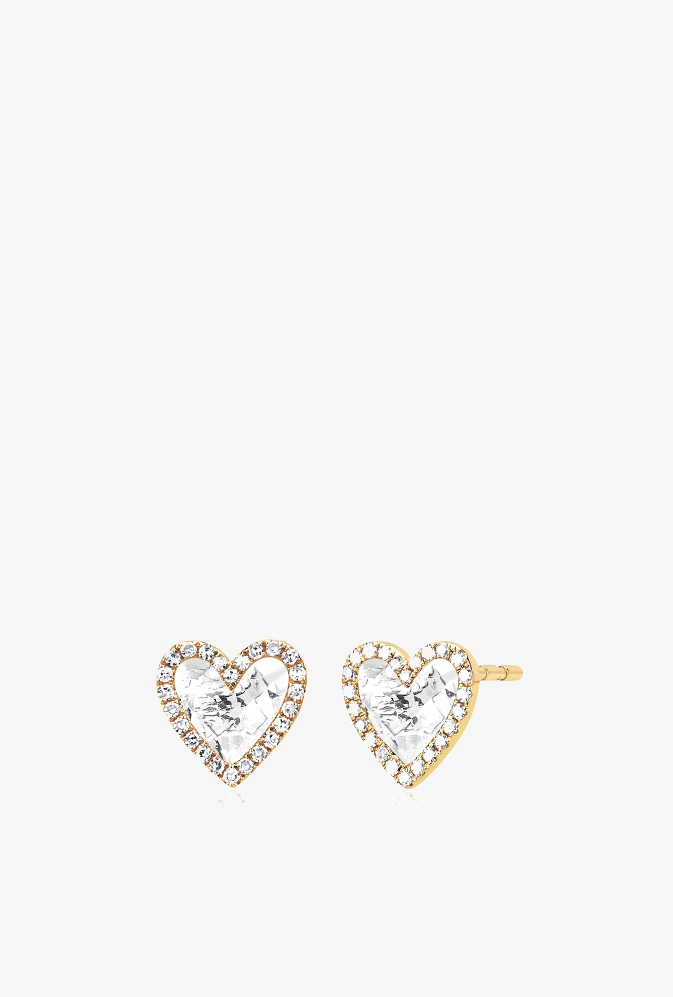 Diamond White Topaz Heart Stud Earrings